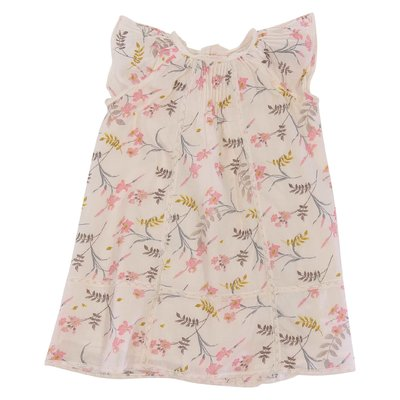 Pink flower printed cotton dress