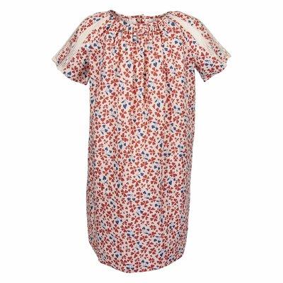 Red printed cotton poplin dress