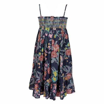 Blue floral print cotton flared dress