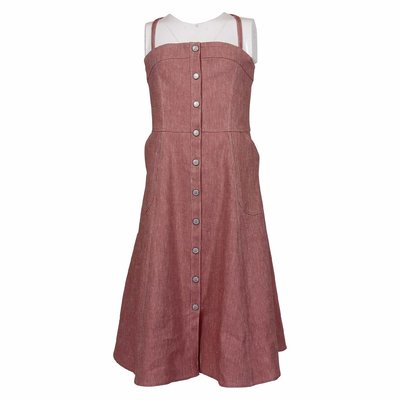 Red cotton denim linen dress