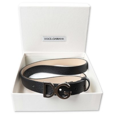 Dolce & Gabbana black deer leather belt