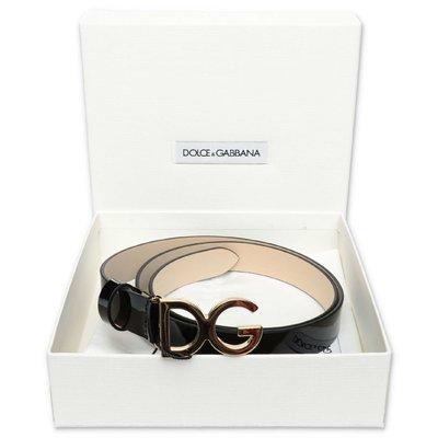 حزام Dolce & Gabbana من الجلد الأسود اللامع