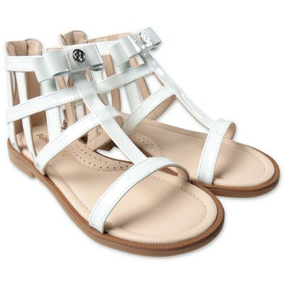 FLORENS white leather zip sandals