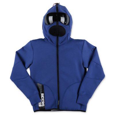 AI RIDERS ON THE STORM blue techno fabric hoodie with lenses