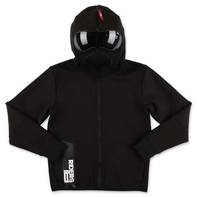 AI RIDERS ON THE STORM black techno fabric hoodie with lenses
