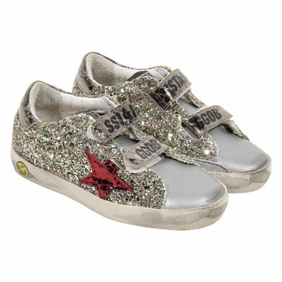 Glittered Old School vintage effect leather sneakers