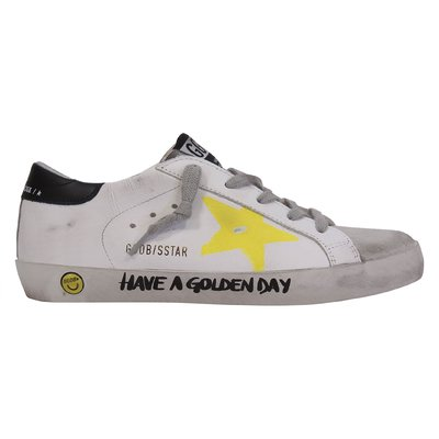 Golden Goose white leather Superstar laced sneakers