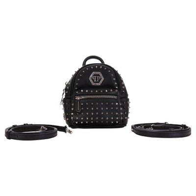 Black logo detail faux leather backpack with studs
