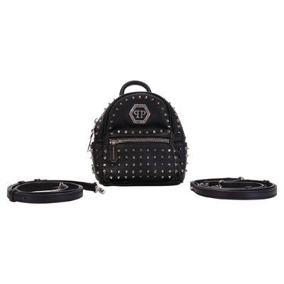 Zaino nero in simil pelle con borchie e dettaglio logo