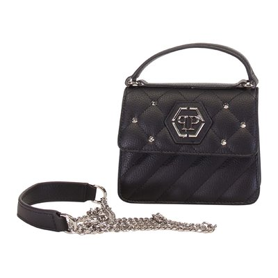 Black logo detail faux leather quilted bag