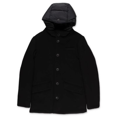 HERNO black wool & nylon cloth coat with hood