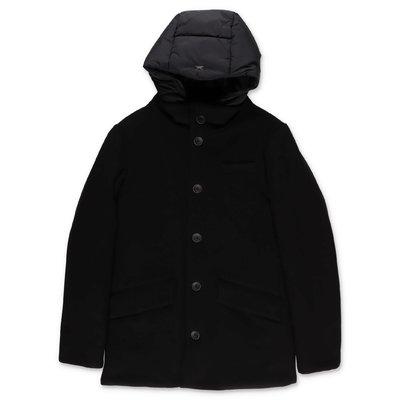 HERNO cappotto nero in panno di lana e nylon con cappuccio