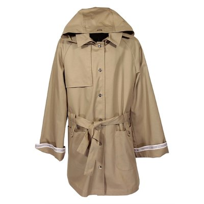 Beige cotton canvas trench coat with hood
