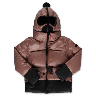AI RIDERS ON THE STORM pink nylon down feather jacket with hood