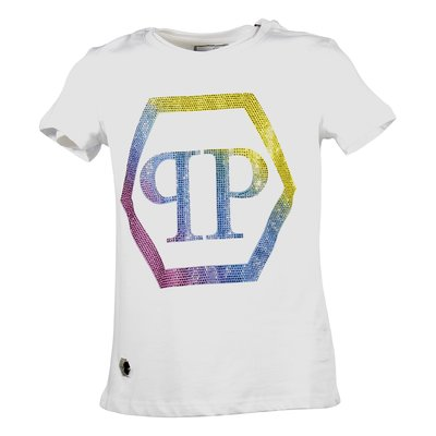 White crystal logo cotton jersey t-shirt