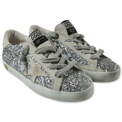 Golden Goose Super Star Edt glittery silver sneakers with laces