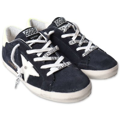 Golden Goose blue Super Star suede sneakers with laces