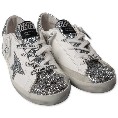 Golden Goose silver Old School Edt leather glittery sneakers
