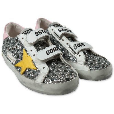 Golden Goose silver glitter leather sneakers with laces