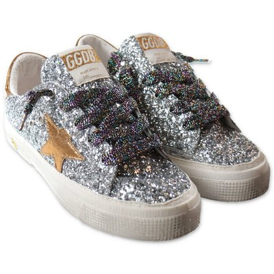 Golden Goose glittery silver sneakers with laces