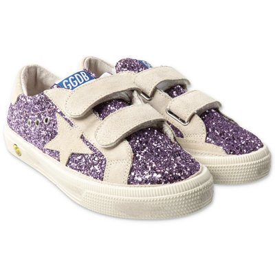 Golden Goose violet glittered leather sneakers with velcro