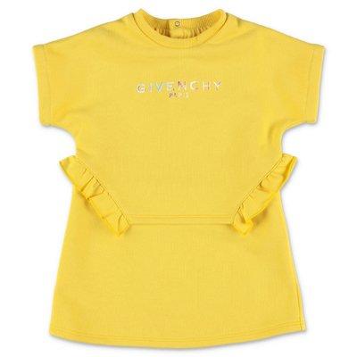 Givenchy abito giallo in felpa di cotone effetto sovrapposto