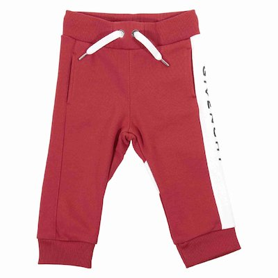 Red logo detail cotton sweatpants