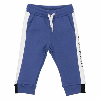 Blue logo detail cotton sweatpants