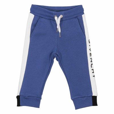 Pantaloni blu in felpa di cotone con logo