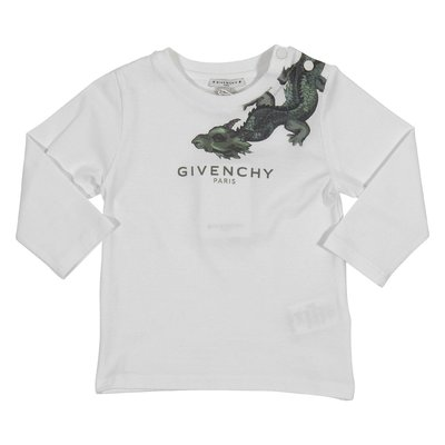 T-shirt bianca stampa dragon in jersey di cotone