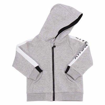 Melange grey cotton zip-up hoodie