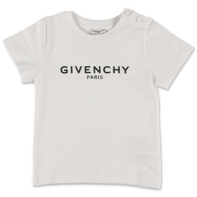 Givenchy t-shirt bianca con logo in jersey di cotone baby