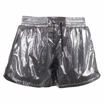 Techno silver laminated effect shorts