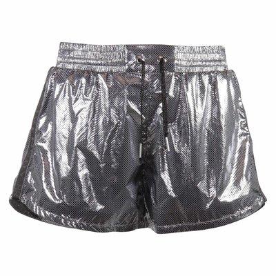 Shorts argento techno tessuto effetto laminato