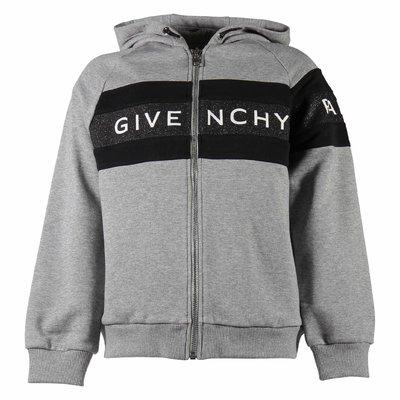 Melange grey logo detail cotton sweatshirt hoodie