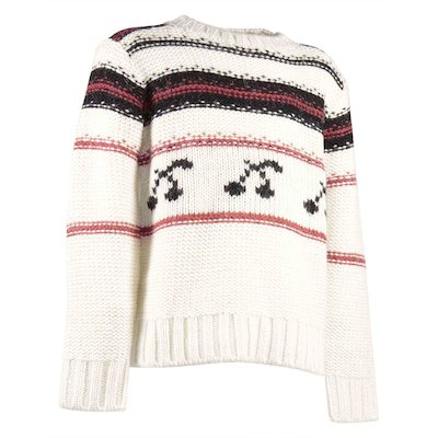 Ivory white wool and alpaca wool blend striped cherry jumper