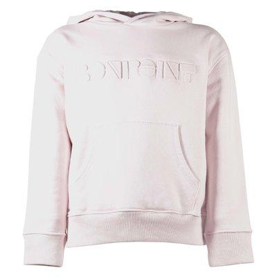 Felpa rosa pallido in cotone con cappuccio e logo
