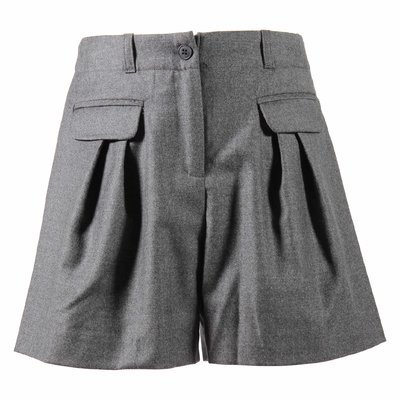 Grey pure virgin wool shorts