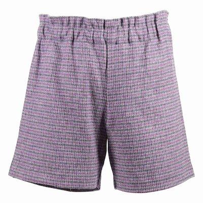 Shorts viola motivo tartan in misto lana