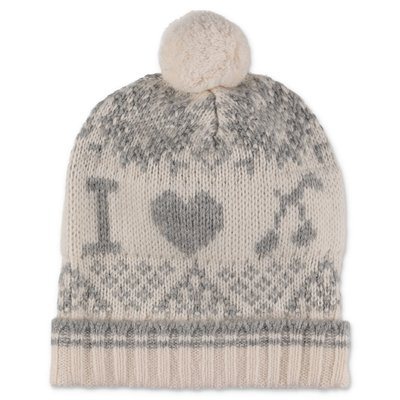 Bonpoint white wool blend knit hat