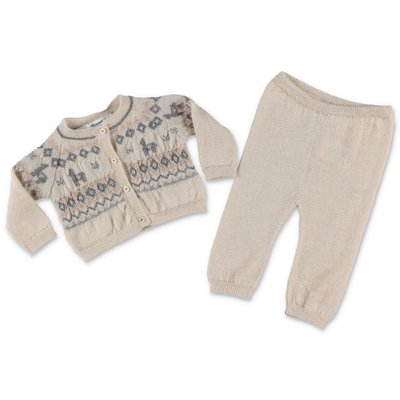 Bonpoint beige alpaca knit cardigan and pants set