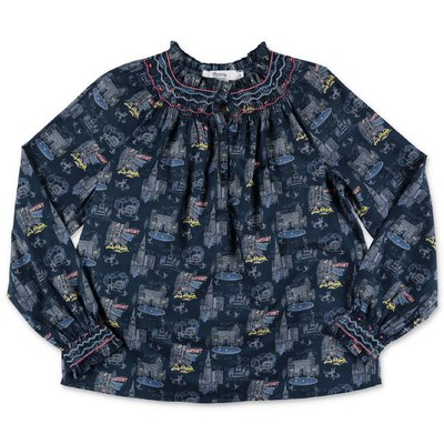 Bonpoint printed blue cotton muslin blouse