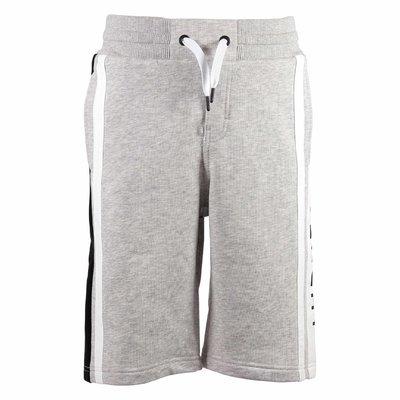 Shorts grigio melange in cotone con logo