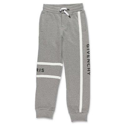 Givenchy pantaloni grigio melange in felpa di cotone con logo