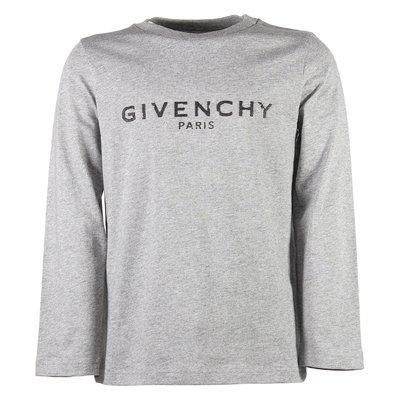 T-shirt grigio melange in jersey di cotone con logo vintage