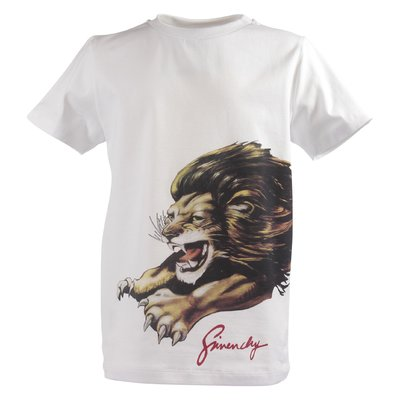 White cotton jersey Lion t-shirt