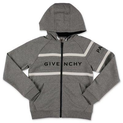 Givenchy felpa grigio melange in cotone con logo e cappuccio