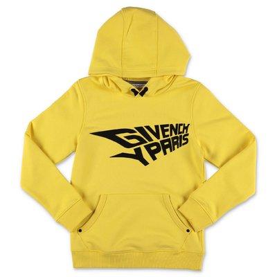 Givenchy felpa gialla in cotone con logo e cappuccio