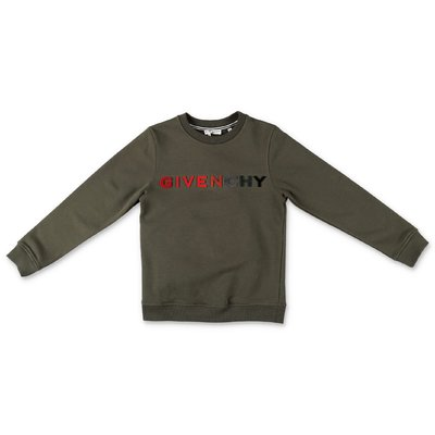 Givenchy military green logo detail cotton sweatshirt