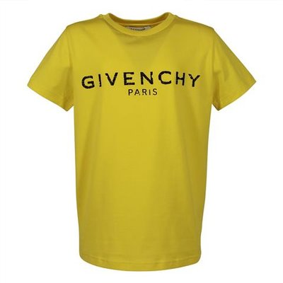 Givenchy yellow vintage logo detail cotton jersey t-shirt